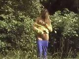 Horny Roller Girl Masturbating In The Woods And Busted By Some Passerby