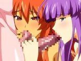Two hentai girls sharing and blowjob dicks