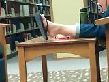 Candid Asian Feet in Flip Flops at College Library
