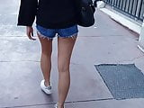 Brunnete Girl in Ultra Mini Jean Shorts