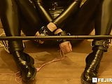 fejira com Leather girl self bondage with sex toys