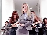 Office dance in heels and mini skirts