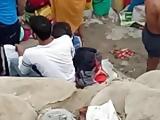 Aunty showin bra in river