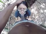22yr old bbc fucking Asian girlfriend in the woods