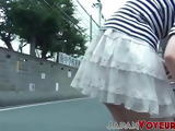 Japanese babe panties filmed flashing on hidden camera