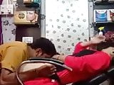 Licking customer pussy in beauty parlor