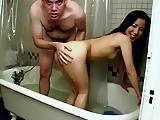 Skinny asian girl fucked in shower