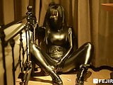 fejira com Leather girl self bondage with chain get orgasm